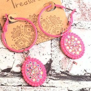 Jewelry - Hot neon pink western boho dangle hoop earrings